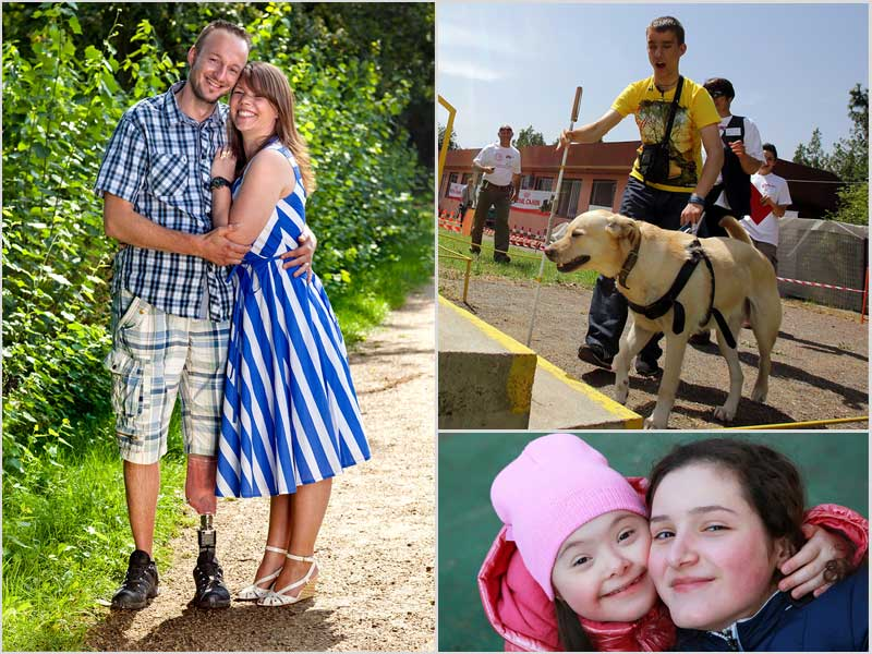 amputee and girlfriend, low-vison man with seeing eye dog, autistic girl and woman smiling